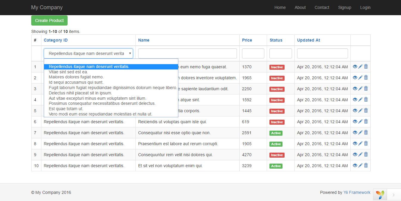 การใช้งาน GridView และการปรับแต่งเพิ่มเติมใน Yii Framework 2